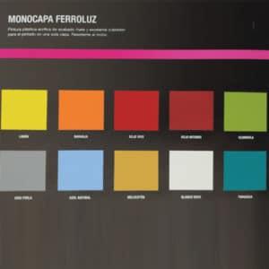 imagen de carta de colores de pintura monocapa de colores Ferroluz