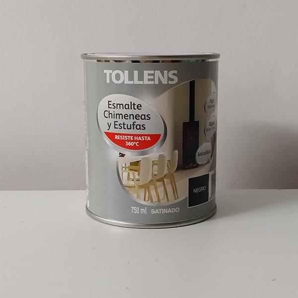 foto de esmalte anticalórico para chimeneas y estufas Tollens 750ml