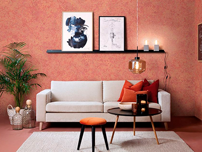foto de pintura alta decoración efecto metal color salmón