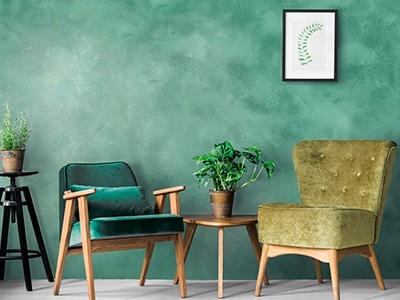 foto de pintura alta decoración efecto metal verde